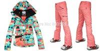 Waterproof best ski jacket - new Combination women ski suit best quality geometric figure snowboarding jacket pants women ski wear