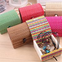 Wholesale 6 Color Choices Mini Bamboo Square Wooden Jewelry Storage Box Handmade Fashion New Cute Strap Craft Case Gift