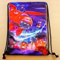 Wholesale 2015 Big Hero Baymax Schoolbag Kids Cartoon Drawstring Backpack Children Students Shoulder Bag Baby Girls And Boys Gift ST T49