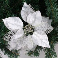 artificial trees cheap - New cm Silver Glitter Artificial Christmas Flowers Poinsettia Cheap Christmas Ornaments g