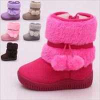 Wholesale Warm Baby Kid Girls Toddler Infant Winter Snow Boots Fur Faux Shoes Zipper Up pair