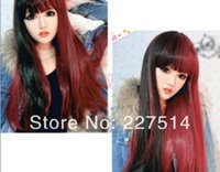 Cheap Heat Resistant Full Long straight hair wigs Costume Party Wine