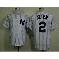 Wholesale Hottest Yankees Derek Jeter White Jerseys Brand Baseball Shirts Hot Sale Baseball Jerseys Top Quality Sports Shirts for Men Sports Shirts