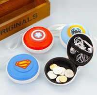 america headphones - Avengers League Of Heroes Captain America Superman Batman Round Coin Purses The silicone Waterproof Headphones Package Key Change Purse
