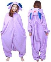 adult costomes - Cartoon Adult Polar Fleece Women Men Anime Espeon Purple Unisex Onesie Cosplay Pajamas Jumpsuit Halloween Party Costomes
