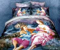 achat en gros de reine couette rose ensemble-3D Amant bleu rose violet couette parure de lit la reine de linge de lit drap couette housse de couette couvre-lit drap peinture à l'huile de coton
