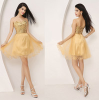 Wholesale Pieces Cheap Short Homecoming Dresses Gold Sequined Knee Length th Graduation Cocktail Party Gowns In Stock Under