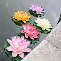 Wholesale pc New Artificial Real Floating Flower Lotus Fishing Containor Pond Plant Decor