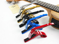Wholesale DHL ship aluminum alloy Guitar Capo Clamp For Electric Acoustic Guitar Spring Trigger Fret Clamp Key Quick with Retail Package