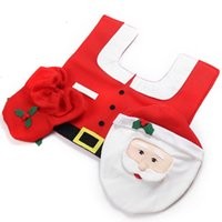 Cheap Household Christmas Santa Claus Cloth Toilet Foot Pad Cover Toilet Seat Cover Radiator Cap Cover Decorations Bathroom Set