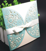 Wholesale Light Blue Laser Cut Wedding Invitations Floral Pack Square Envelopes Inner Sheets Envelope Wedding Invitations Sets Custom Made Available