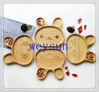 appetizer trays - DHL Freeshipping Cute Wood Child Compartment Plate Divided Tray Baby Cartoon Rabbit Appetizer Platter