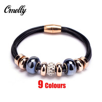 beads in bulk - New Crystal European Bead P Charm Bracelets Rose Gold Leather Bracelet with Magnetic Clasp Jewelry Christmas Gift in Bulk Cheap