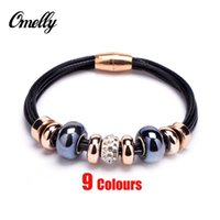 gold pan - New Crystal European Bead Pan Charm Bracelets Rose Gold Leather Bracelet with Magnetic Clasp Jewelry Christmas Gift in Bulk Cheap