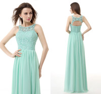Model Pictures One-Shoulder Chiffon Mint Green Lace And Chiffon Evening Dresses Cheap Key Hole Backless Wedding Bridesmaid Prom Dress Formal Gown In Stock Real Image 2015 HH