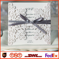 Invitations & Invitation Buckles blank cards - White Lace Hollow Folded Wedding Invitations Blank Inner Sheets Cards cm cm Wedding Card WM207