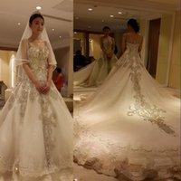Wholesale Luxury Cinderella Court Train layered Organza Wedding Dresses With Beaded Crystal Rhinestone Bridal Dresses Vintage Illusion Ball Gown