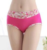 boyshorts - Contrast color Women Panties Modal Boyshorts Carry buttock middle waist underwear printed bamboo fiber Seamless Briefs female underwear pc