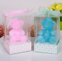 bear scents - 10pcs Blue Pink Cute Bear Candle Wedding Baby Shower Birthday Souvenirs Gifts Favor Packaged with PVC Box