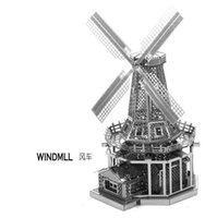 Wholesale DIY windmill Three dimensional nano metal miniature sculpture jigsaw puzzle ornament D Puzzle DIY Model beautiful gift