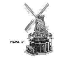metal ornaments - DIY windmill Three dimensional nano metal miniature sculpture jigsaw puzzle ornament D Puzzle DIY Model beautiful gift
