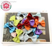 Wholesale Handmade Solid Color Ribbon Bow Tie satin decor bow girls clothes accessories