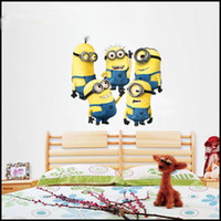Wholesale New Christmas Cartoon Despicable Me Minion Wall Stickers Removable Home Decor Decals Sticker Wallpaper Rolls Party Decoration Free UPS