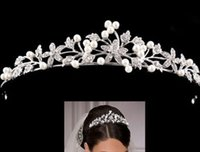 Wholesale Bridal Tiara Flower Rhinestone Crystal Crown Hairband Pearl Hair Comb Wedding
