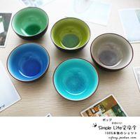 japanese ceramics - Japanese Colored Ceramic Glaze Crack Steamed Rice Soup Bowl Set