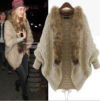 beige crochet cardigan - Winter Women Loose Faux Fur Collar Sweater Batwing Sleeve Knitted Cardigan Jacket Coat Tops Lady Outwear Beige