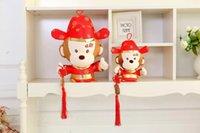 achat en gros de jouet fabriqué en tissu-Style Zodiaque chinois Faire un singe fortune Mascotte rouge 22cm Jouets en peluche Jouet bébé Poupée Poupée cadeau de Nouvel An
