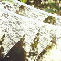 flags and banners - Lace Bunting Wedding Flag Banner Vintage Wedding Triangle Flags Jute Hessian DIY Home Decoration Banner Event Party Photo Booth Props
