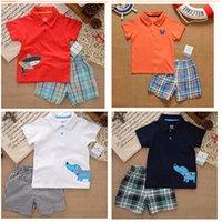 Cheap 2015 famous children sets summer baby clothes clothing set baby boy clothes kids clothes sets t-shirt+pants suit childrens clothing R469