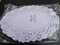Wholesale 250pcs Oval Ellipse White lace Paper Doilies Decor Mats Pads for Cake Cookie Biscuit