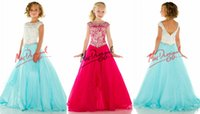little girls dresses - Custom Elegant Little rosie Pageant Dresses for Girls Bateau Crystals Beads Kids Prom Dress Floor Length Zipper flower girl dress