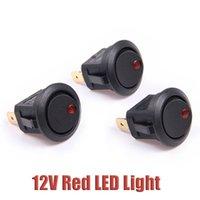 Wholesale Car Boat Round Dot Red LED Light Rocker Indicator Switch Pins ON OFF V DC