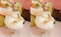 Wholesale 2015 New Jewel Bow Ribbon Flower Girls Dresses Knee Length Ball Gown Sleeveless Lovely Princess Christmas Birthday Wedding Formal Dresses