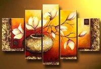 Cheap Golden Bottle Flowers Best Modern Oil Paintings