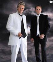 Wholesale New Design Stand Colar Groom Tuxedos Bridegroom Wedding Suit For Men Designers Prom Suit Boyfriend Blazer Jacket Pants tie Vest