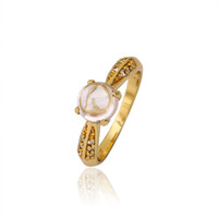 Wholesale Women K Gold Plated Cubic Zirconia Rings With Side Stones Xuping Fashion Personalize Environmental Copper Jewelry Ring for