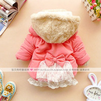 Wholesale new Lace Bow Girl s Winter jackets hooded children s Coats warm Outerwear amp Coats cotton padded jackets