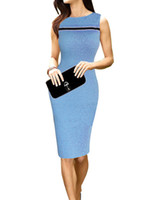 Wholesale Grace Karin Occident Women Slim Candy Color Fit Sleeveless Crew Neck Bodycon Pencil Dress CL009853