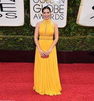 america pick - 2015 Golden Globe Celebrity Yellow Evening Dresses Halter Beaded Crystals Sash America Ferrera Long Chiffon Trendy Prom Evening Gowns Modern