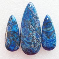 agate blue lace - New Natural Set Blue Crazy Lace Agate Teardrop Gemstone Jewelry Pendants Beads Sets for Necklaces Making