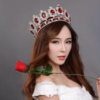 Others big rubies - big European royal crown golden rhinestone imitation ruby tiara super large quinceanera crown wedding hair accessories
