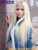 Precio de Cordón lleno recta superior de seda-Sedoso 613 Platinum Blonde 8A humana brasileña llenas superiores de seda del cordón de la peluca 130% Densidad sin cola peluca de pelo del frente del cordón humano para las mujeres blancas