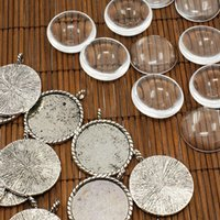 Wholesale 26mm Transparent Clear Domed Magnifying Glass Cabochon Cover for Photo Pendant Making with Antique Silver Alloy Settings Lead Free Nicke