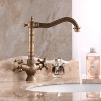 antique water spout - Antique Brass Brushed Nickel Kitchen Sink Faucet Swivel Spout Dual Lever Hot Cold Water Mixer Taps For Kitchen torneira cozinha