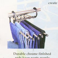 Wholesale 5 in Magic Stainless Steel Multifunctional Retractable Pants Rack Trousers Hanger Carrier Space Saver Household