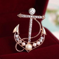 Wholesale Elegant Music Note anchor lovely crystal brooch fashion jewelry N50D D25219B3